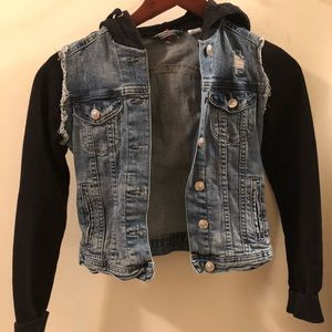 Jean Vest Jacket with Cloth Sleeves